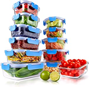 Superior Glass Food Storage Containers - 24-Piece Stackable Glass Meal-prep Containers w/ Newly Innovated Hinged BPA-Free 100% Leakproof Locking Lids - Freezer-to-Oven-Safe - NutriChef NCGLRED