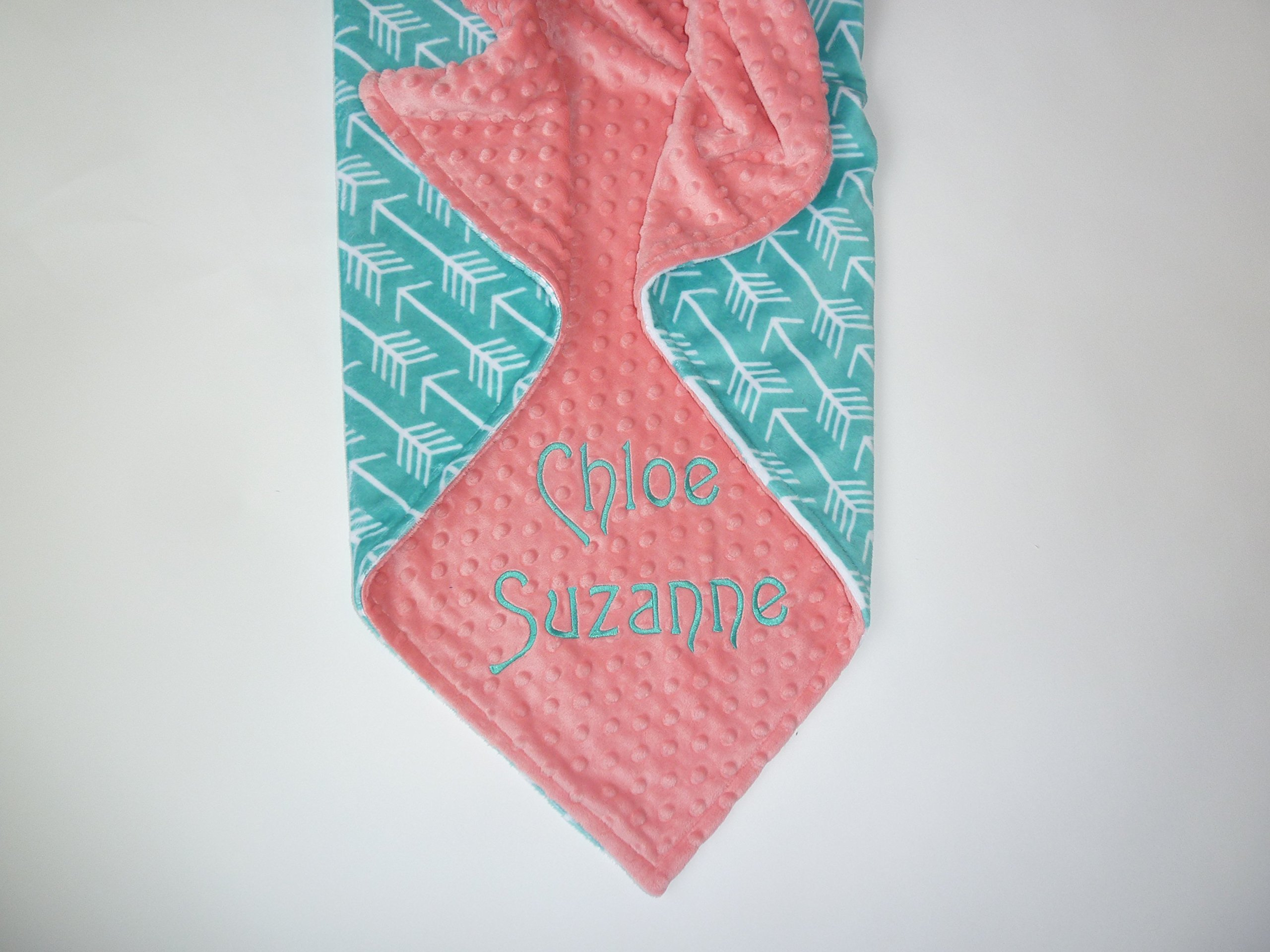 Personalize Double Minky Baby Blanket or Lovey - Premier Archer Arrow in Teal Minky, You Choose SOLID COLOR minky