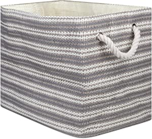 DII Basketweave Woven Paper Laundry & Storage Bin, Large Rectangle, Gray & White