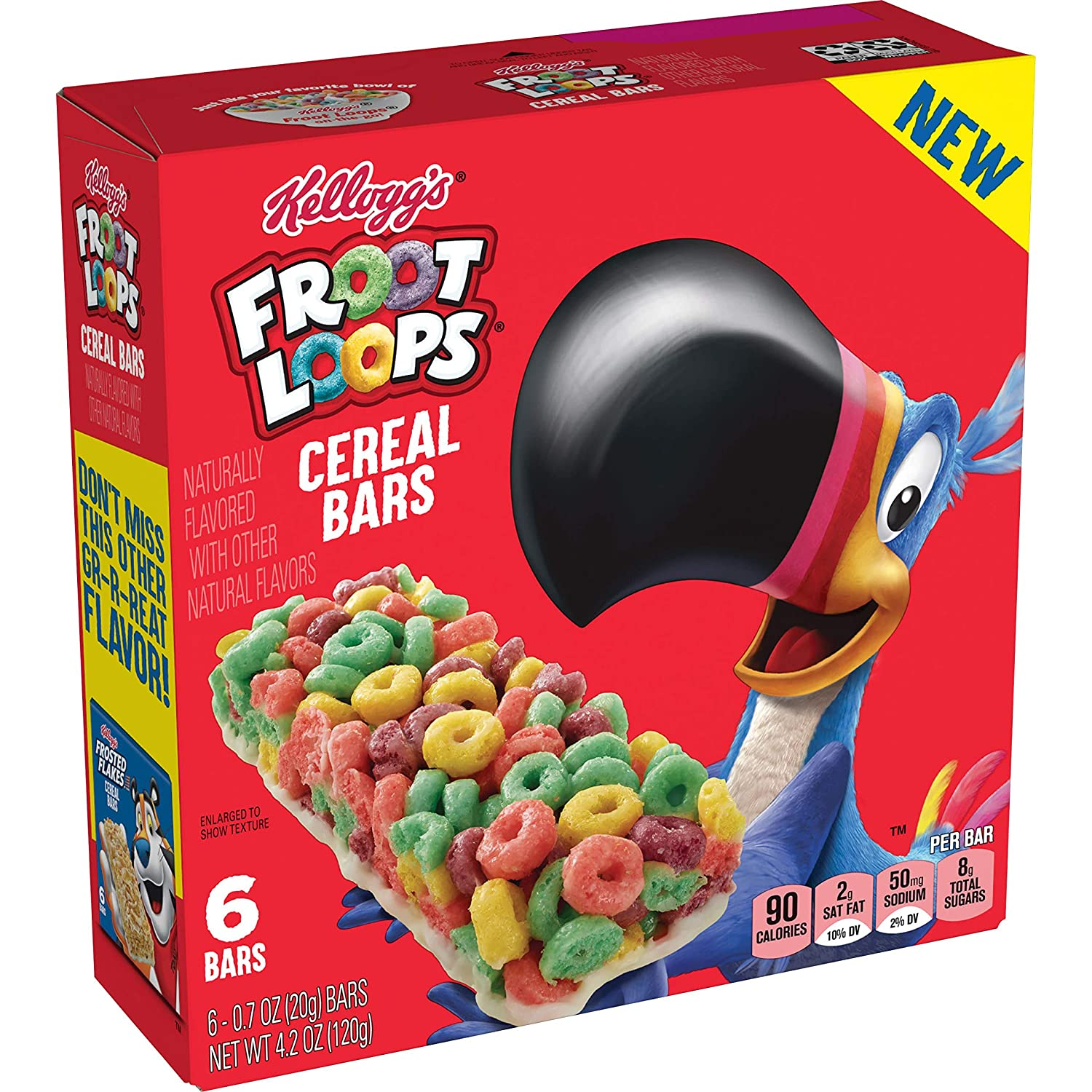 Kellogg's Cereal Bars -On The Go Snack Food, froot loops, 6.4 Oz
