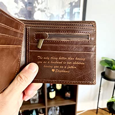 RFID Personalized Leather wallet anniversary gifts personalized mens leather wallet Mens Bifold Wallets With Coin Pocket gift for dad