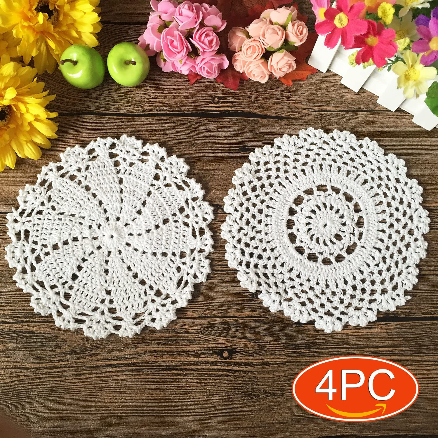 Elesa Miracle Handmade Round Crochet Cotton Lace Table Placemats Doilies Value Pack, Mix, Beige (4pc-7 Inch White)