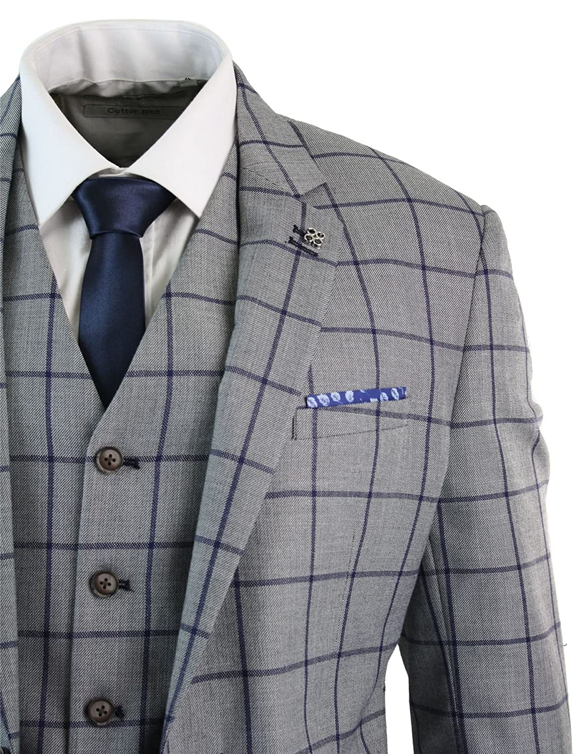 344e72ab028 Mens 3 Piece Tailored Fit Check Suit Grey Navy Blue Smart Formal Classic  Vintage Retro cavani