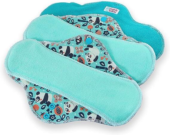 Classic | Pads Menstruels doux et super absorbant Fabriqu/é en Europe Petit Lulu Serviettes hygi/éniques r/éutilisables en tissu lavables Paquet de 3 R/éutilisable /& Lavable Faddy Pandas, ULTRA