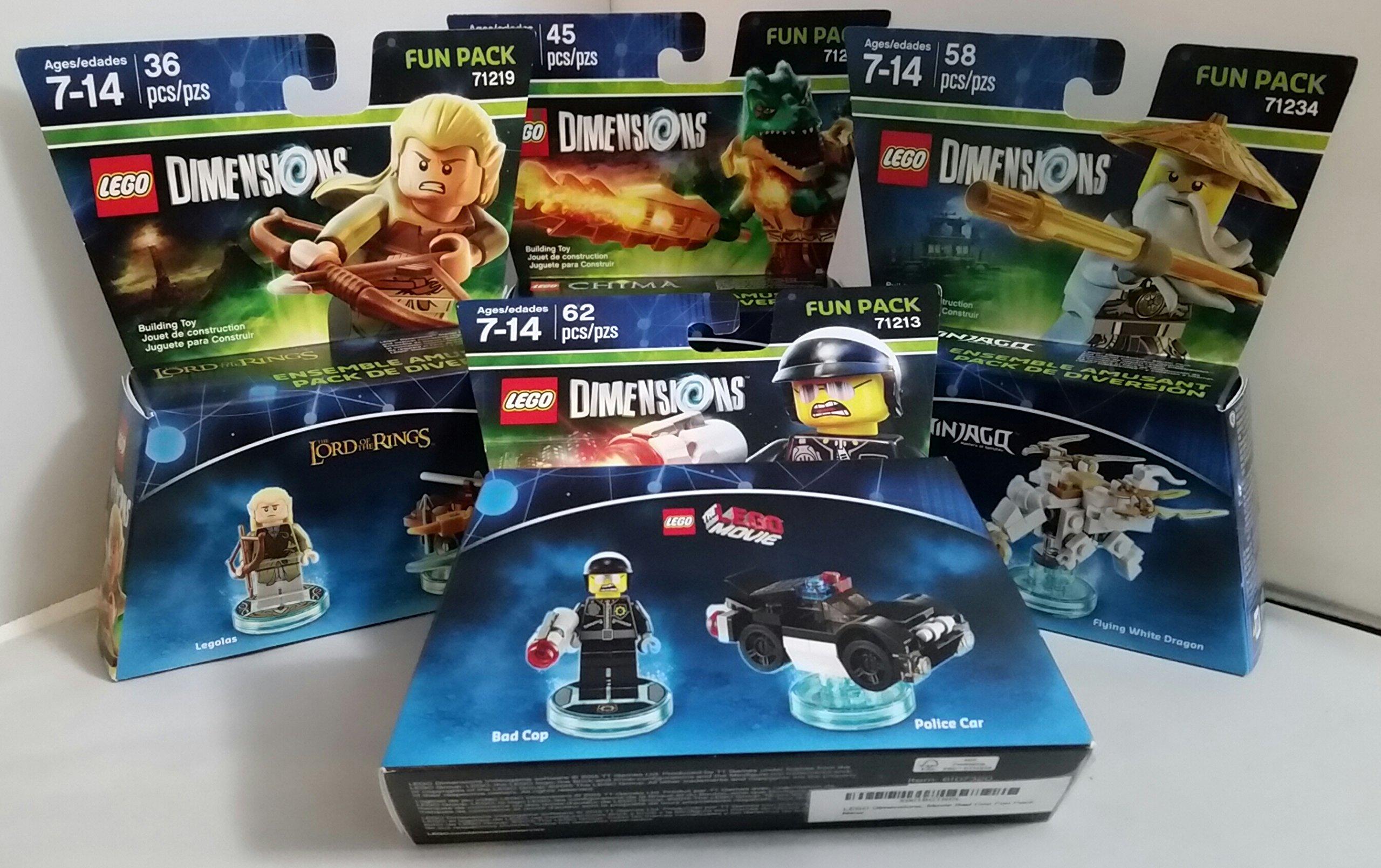 Amazon.com: Lego Dimensions Fun Pack Bundle 4 packs: Legolas ...