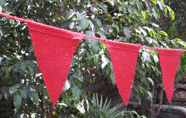 コットンクラフト – 30フラグ – 15フラグX 2セット – ジュート黄麻布三角形赤でカラー – DIY装飾休日、ウェディング、キャンプ、子供、パーティー、Happy誕生日バナー、Any Occasion   B01NBBSK0I