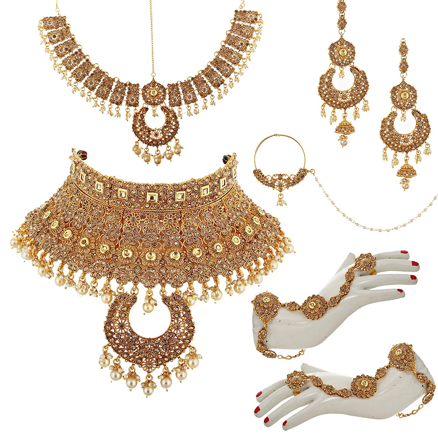 Buy Lucky Jewellery Bridal Dulhan Golden Red Color Alloy Gold Plated Jewellery Set For Girls Women 3960 P3zr 235sm Lct Red At Amazon In
