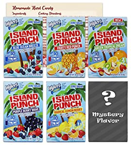 Wyler's Light Singles to Go - Island Punch Variety Pack of 5 Flavors | 1 Box Each - Sugar Free Drink Mix Water Flavoring Packets | Bundled with Hard Candy Recipe Card