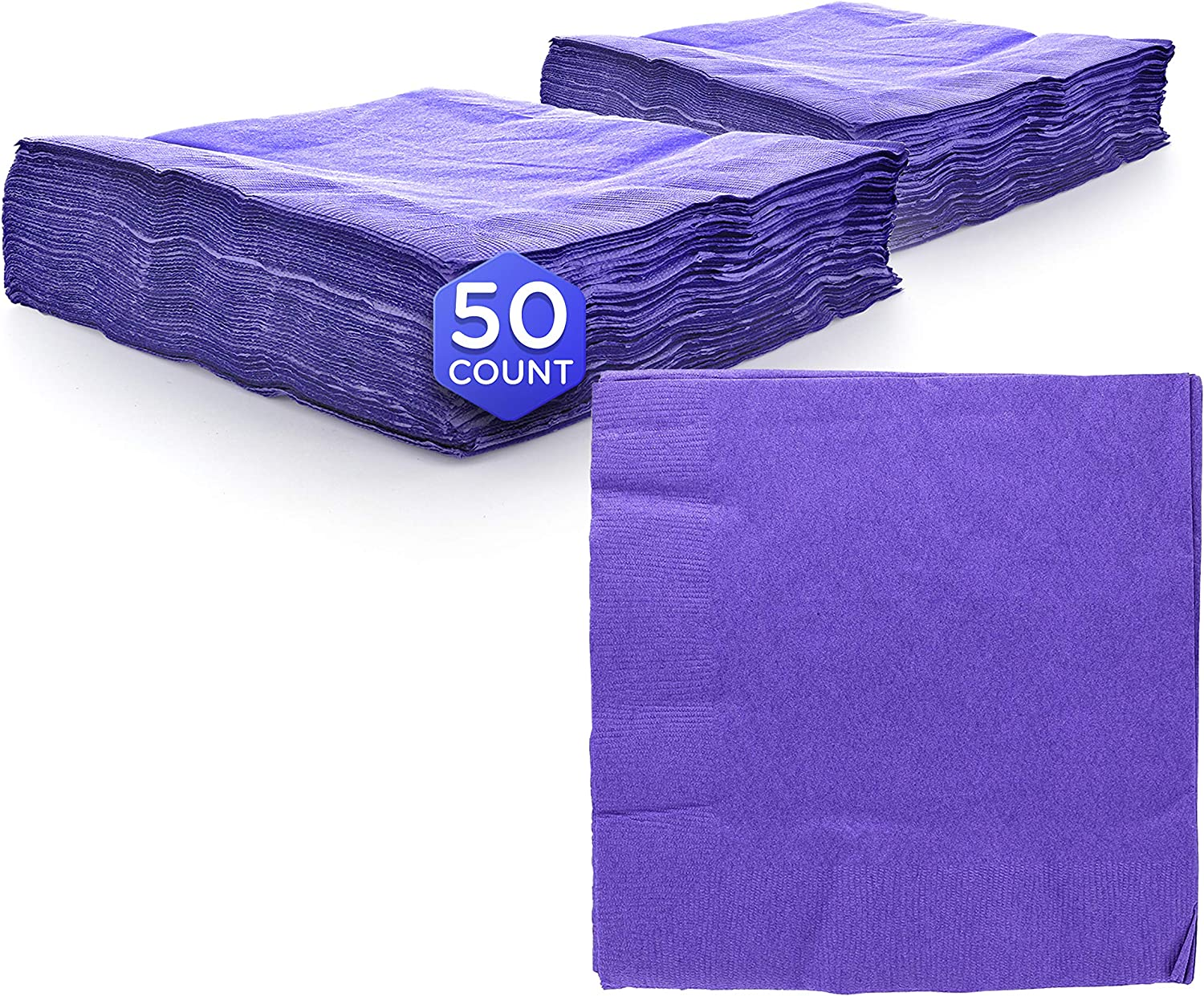 """Amcrate Big Party Pack 125 Count Purple Beverage Napkins - Ideal for Wedding, Party, Birthday, Dinner, Lunch, Cocktails. (5"""" x 5"""")"""