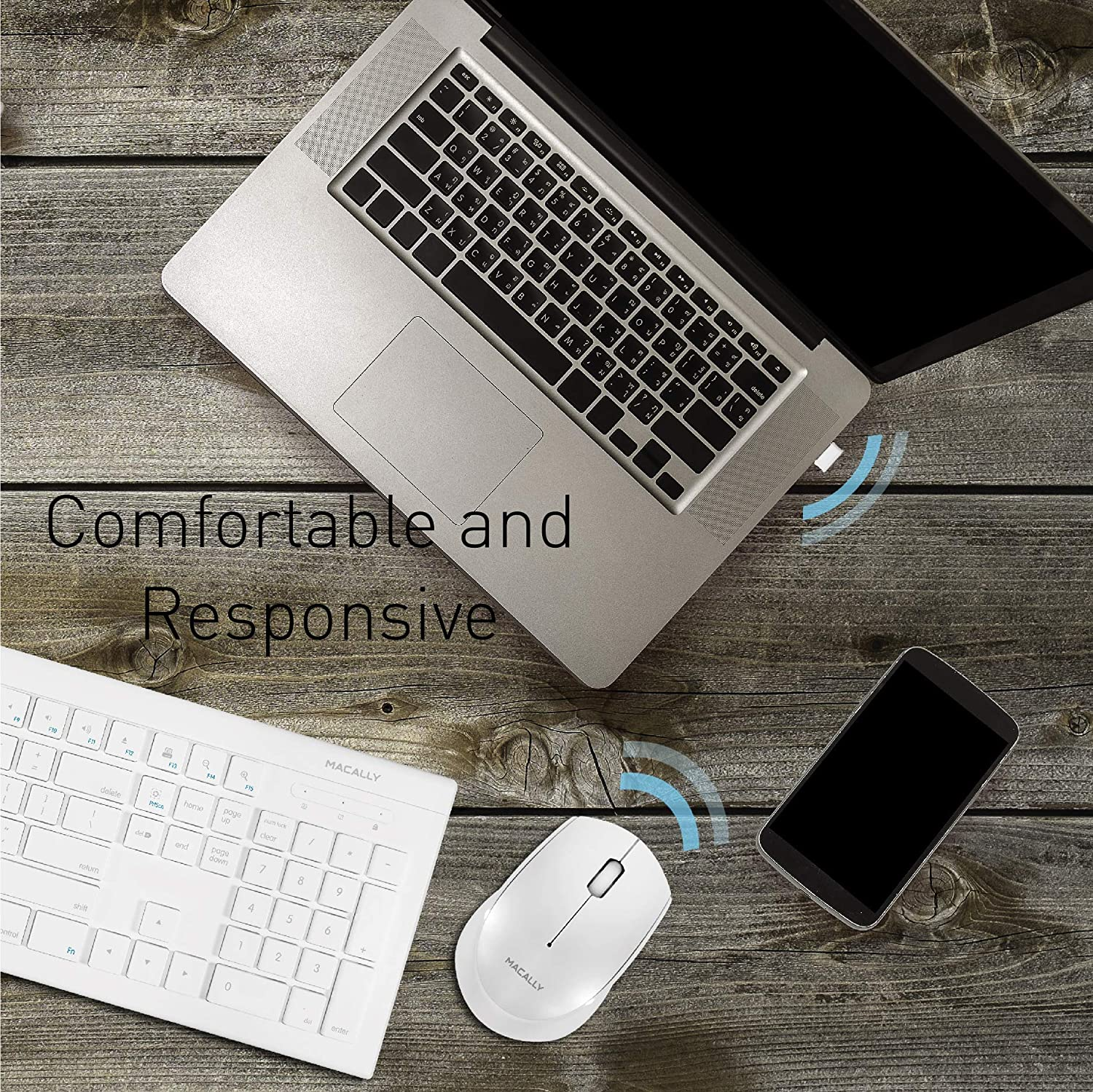 Optical Sensor 1200 DPI Small Compact Design for Easy Travel 2.4G USB Receiver White Macally RF Wireless Mouse for Laptop Windows PC//Apple Mac//Desktop Computer
