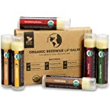 USDA Organic Lip Balm 6-Pack by Earth's Daughter - Fruit Flavors, Beeswax, Coconut Oil, Vitamin E - Best Lip Repair Chapstick