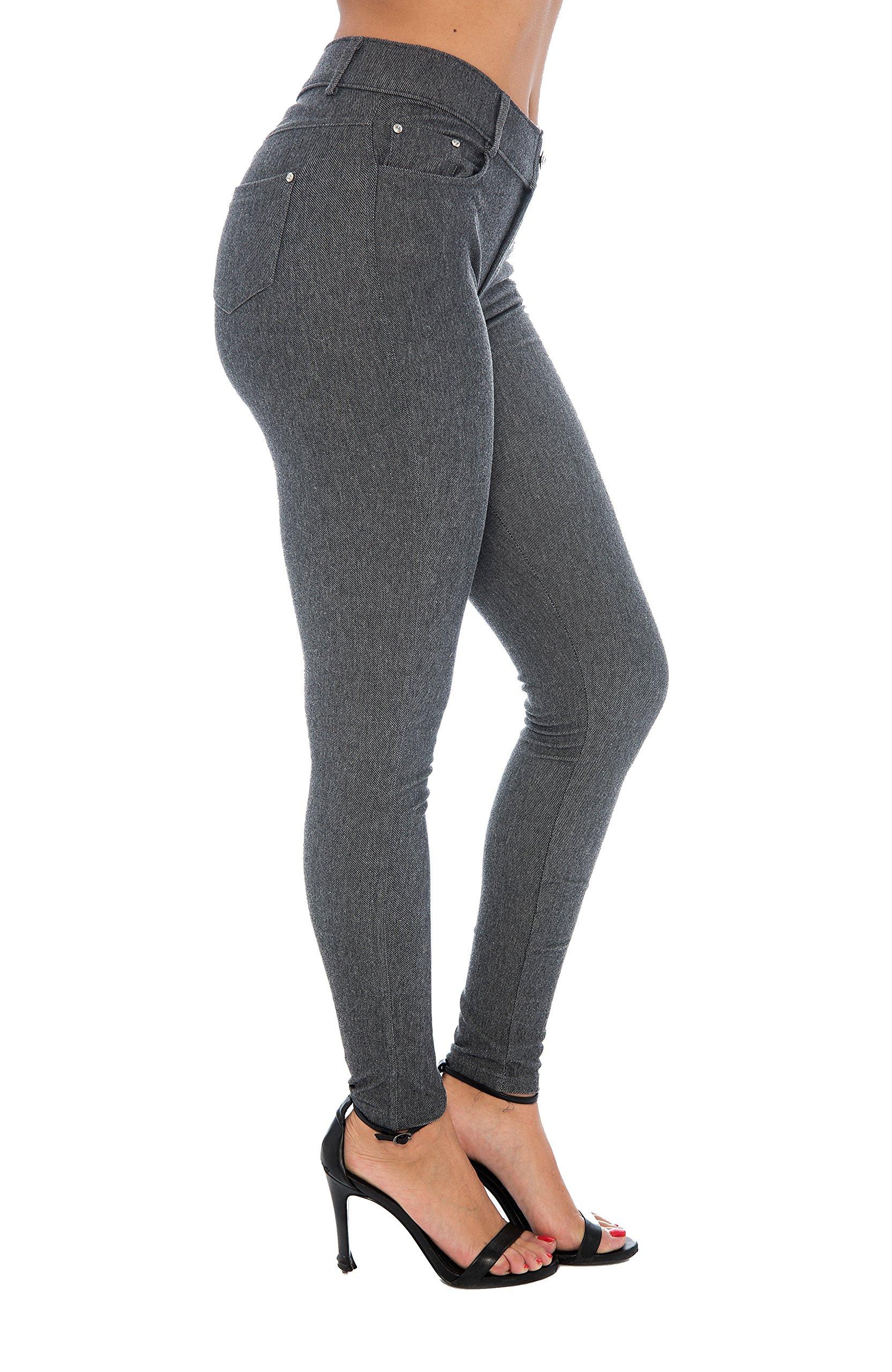 Women's Basic Jeggings Leggings Stretchy 5 Pockets Pants Regular Plus Sizes, Grey, Medium