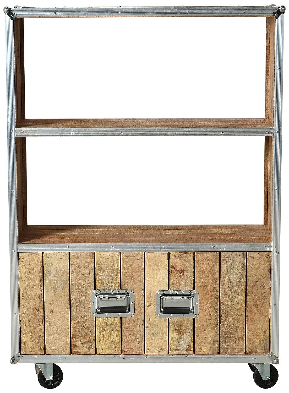 SIT-Möbel 2299-01 Regal Roadies, Mangoholz unbehandelt, naturfarben mit Alu beschlagen auf Gummirollen, 2 Türen, 2 Fächer, 100 x 35 x 145 cm