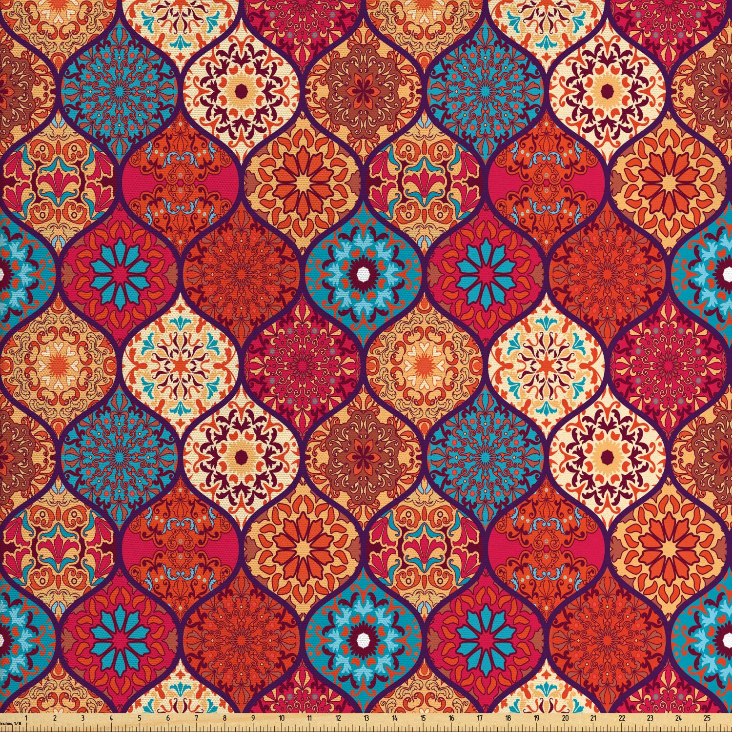 Ambesonne Moroccan Fabric by The Yard, Oriental Wavy Curvy Pattern with Spring Nature Inspired Retro Style Art Motifs, Decorative Fabric for Upholstery and Home Accents,10 Yards, Multicolor