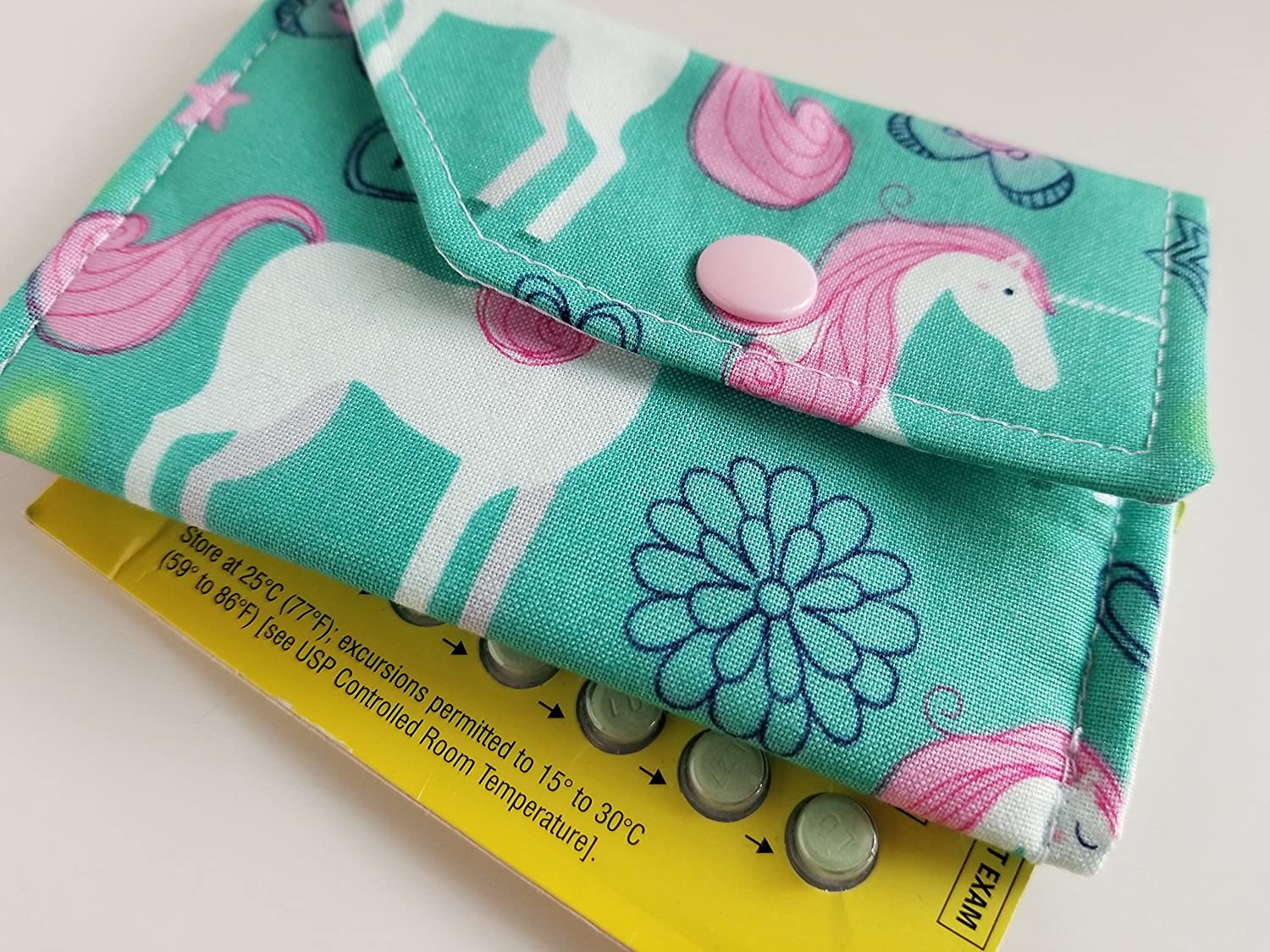 Birth Control Case Sleeve with Snap Closure and Optional Keychain Clip -Happy unicorns