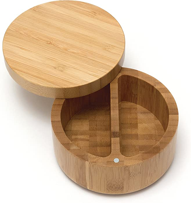 Lipper International 8839 Bamboo Wood Divided Spice Box with Swivel Cover, 4.75