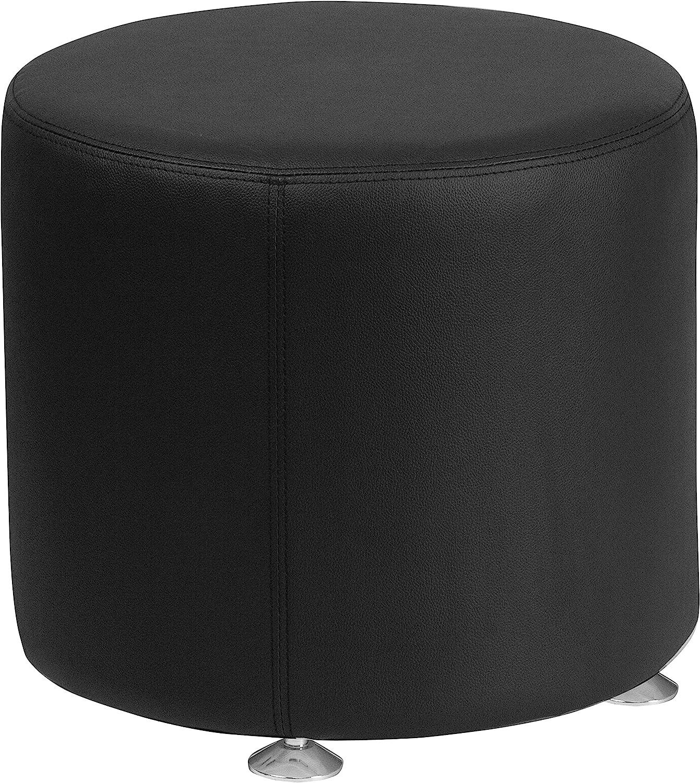 Flash Furniture HERCULES Alon Series Black Leather 18'' Round Ottoman
