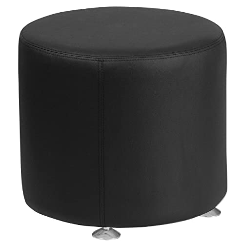 Flash Furniture HERCULES Alon Series Black Leather 18 Round Ottoman