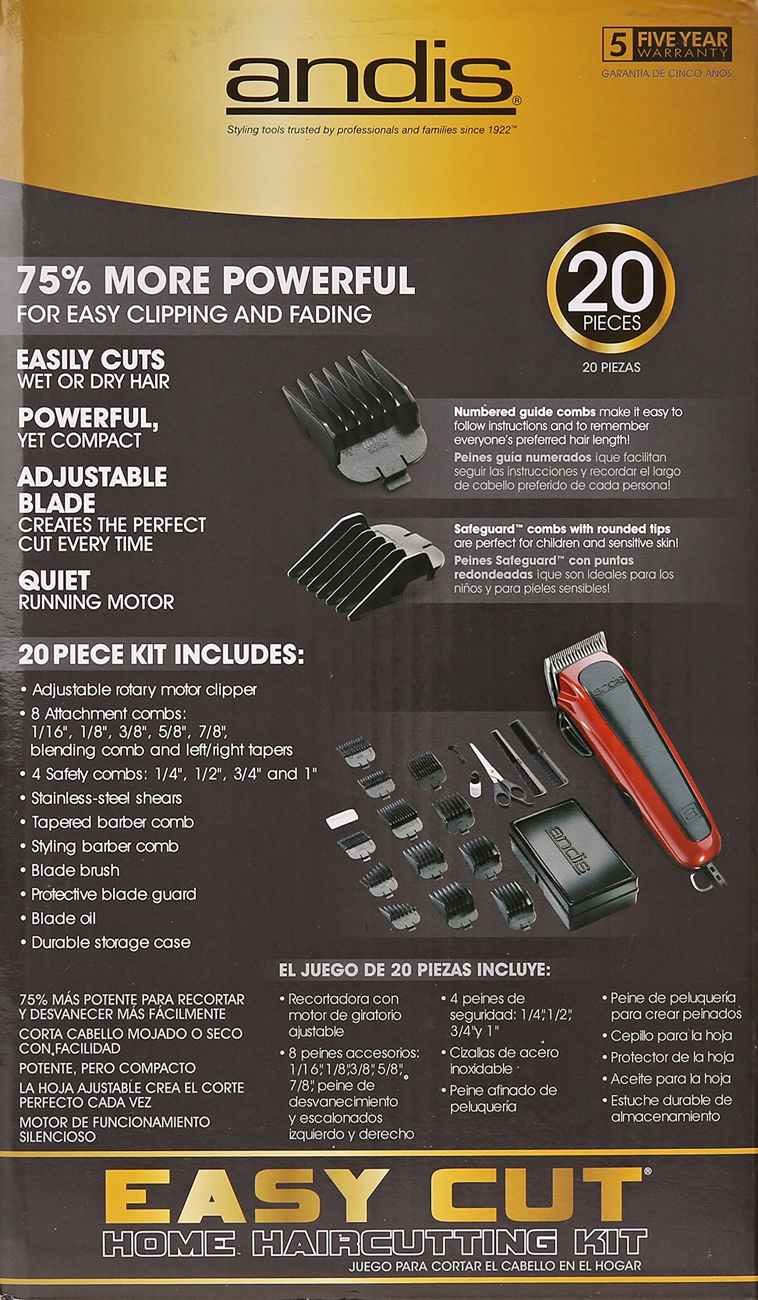 Andis Easy Cut 20-Piece Haircutting Kit, Red/Black (75360) by Andis (Image #6)