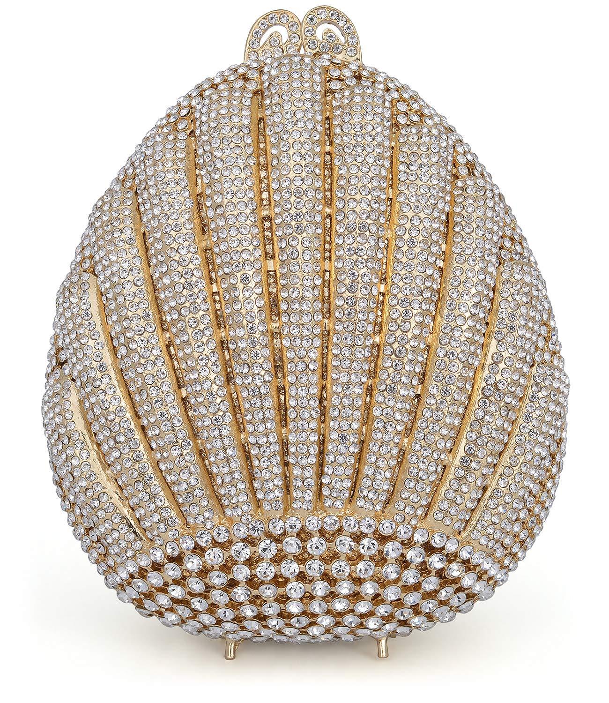 Luxury Crystal Clutch Women Rhinestone Evening Bag (Gold)