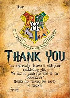 Harry Potter Birthday Party Thank You Cards With Free Envelopes 16