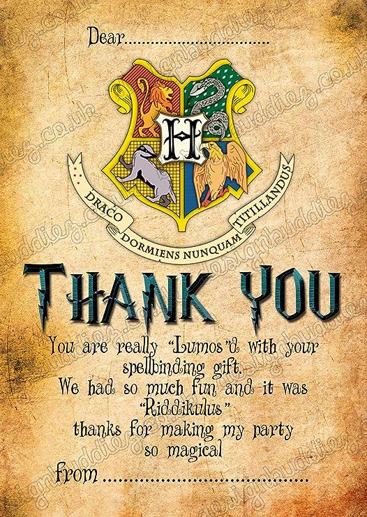 Harry Potter fiesta de cumpleaños tarjetas de agradecimiento ...