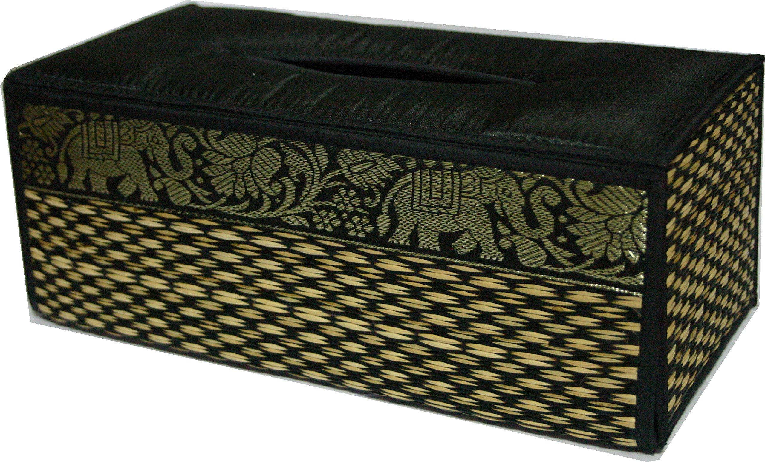 TOPMOST N-9010, Handmade Thai Woven Straw Reed Rectangular Tissue Box Cover with Silk Elephant Design 5x3.7x10.2 Inch
