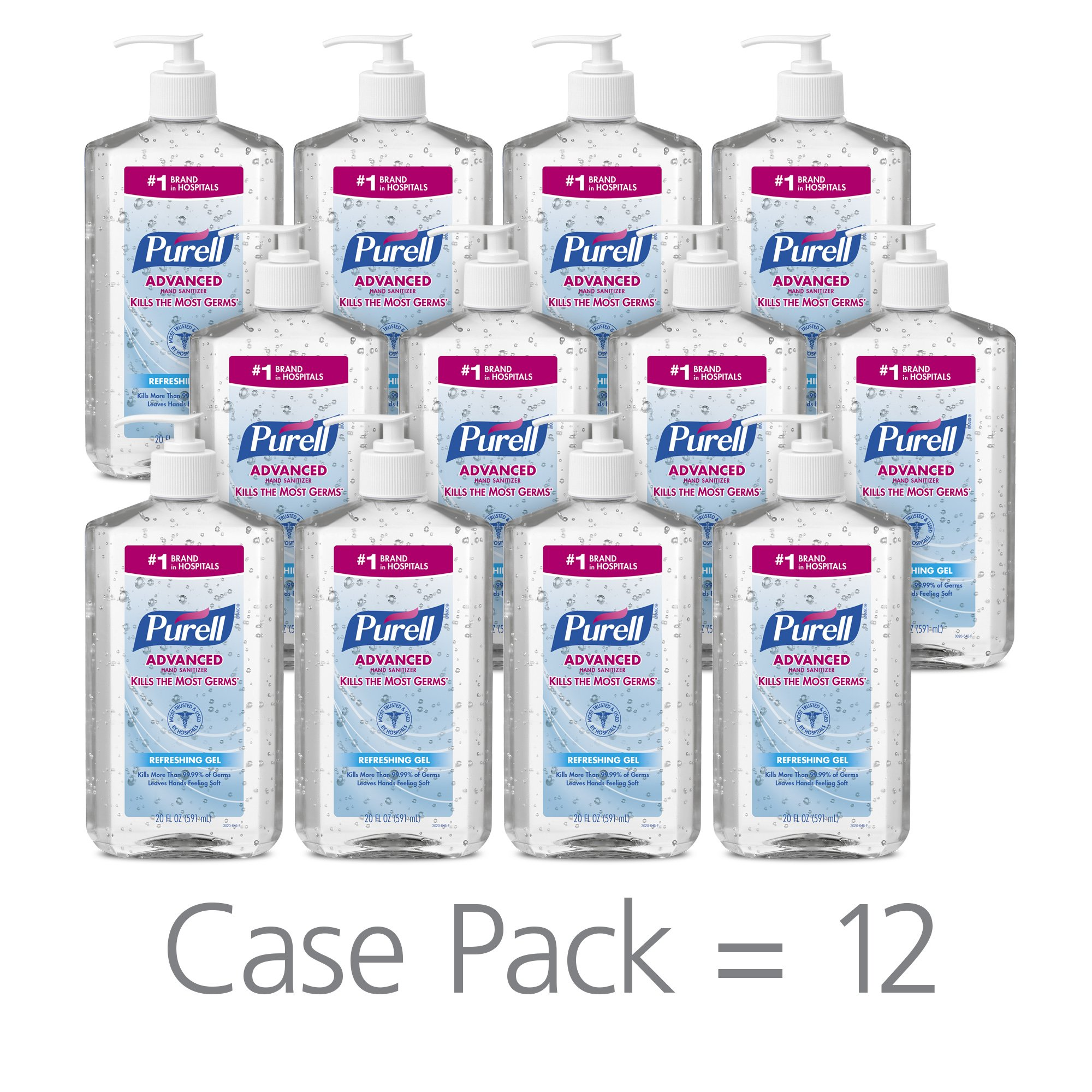 PURELL   Advanced Hand Sanitizer Refreshing Gel for Workplaces, Clean Scent, 20 fl oz pump bottle (Pack of 12) – 3023-12