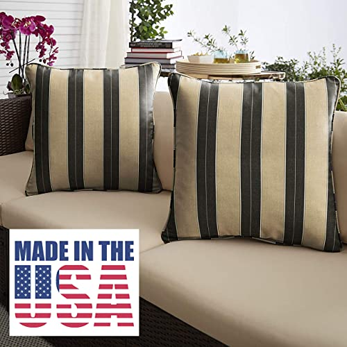 1101Design Sunbrella Berenson Tuxedo Corded Decorative Indoor/Outdoor Square Throw Pillow