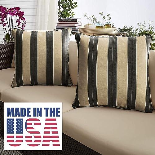 1101Design Sunbrella Berenson Tuxedo Corded Decorative Indoor/Outdoor Square Throw Pillow