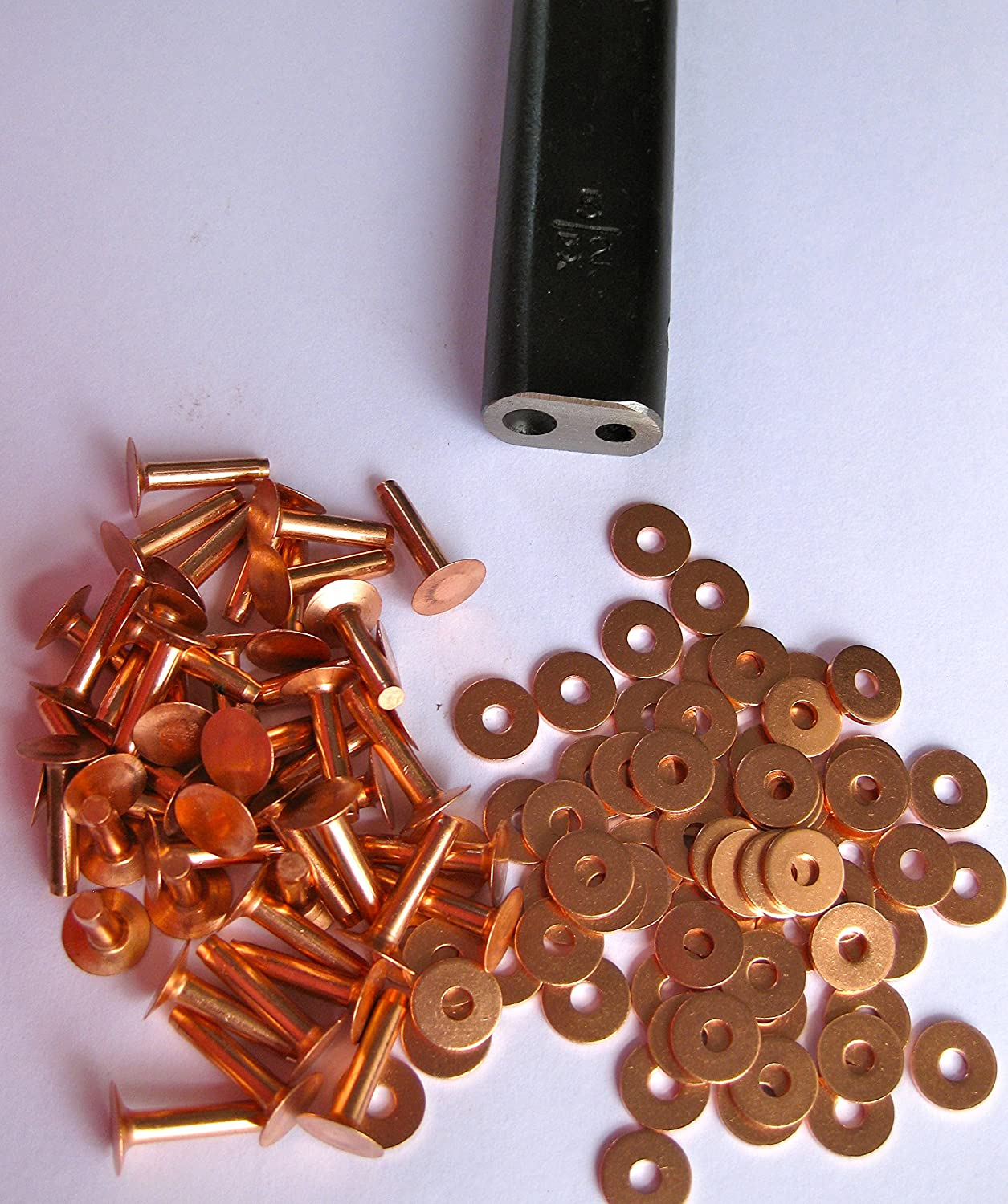 30 Copper saddlers rivets & setting tool 10 Gauge x 1/2 & washers R S Trade Supplies