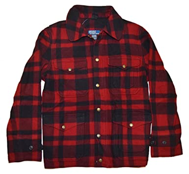 74e04674 Ralph Lauren Polo Mens Merino Wool Plaid Red Black Jacket Large at ...