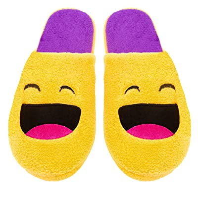 Amazon.com | Chatties Ladies Terry Cloth Slip On Embroidered Novelty Bedroom Slippers, 5/6, LOL Emoji | Slippers
