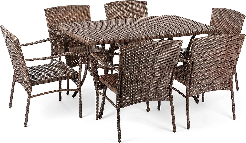 Flex HQ Leisure Collection Outdoor Garden Patio Furniture 7PC Dining Set