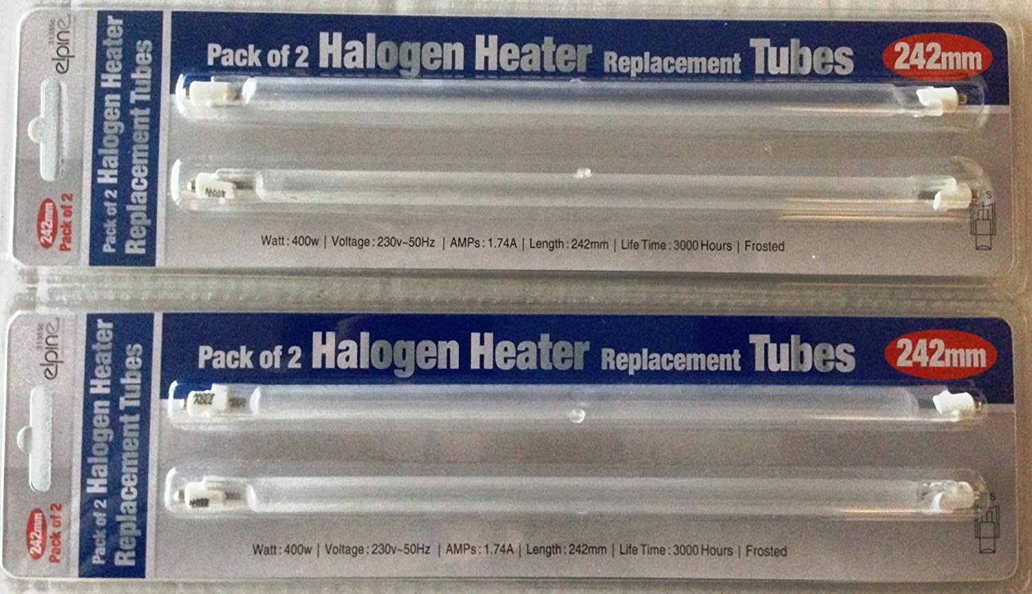 Halogen Heater Replacement Tubes - 400 watts - 242mm - 4 tubes