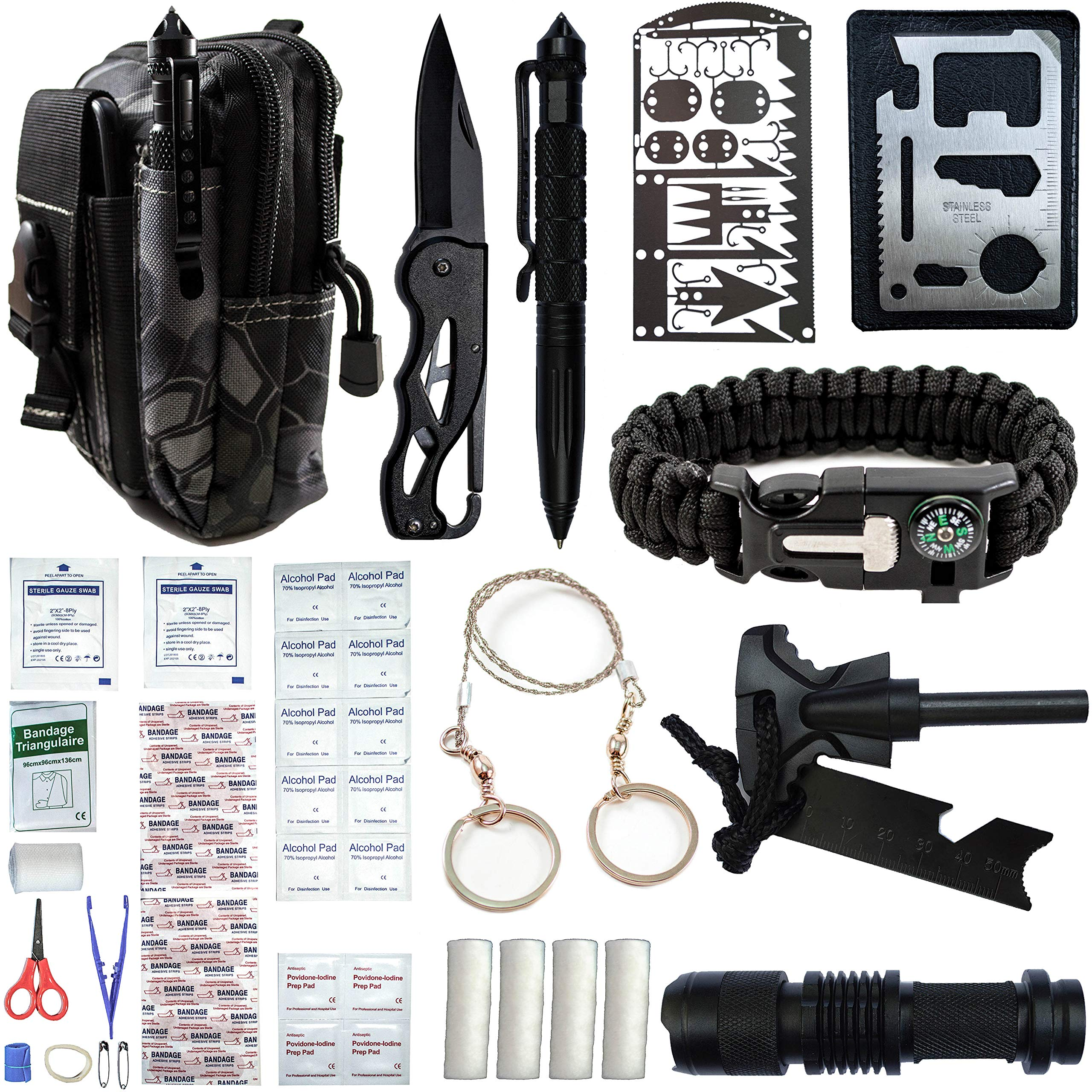 GoloGuide Emergency Survival Gear Kit - with First Aid. Cool Gadgets, Tools for Men, Women. Hiking, Camping, Fishing Accessories. Link Molle Pouch to Bag, Backpack. Best Military Equipment, Supplies