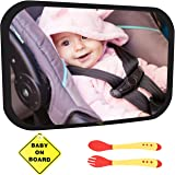 Baby Car Mirror Bundle - Improved Shatterproof Glass - Premium Back Seat Mirror - The Clearest & Largest - Fully Assembled & Adjustable - Crash-tested -Baby Mirror for Car Rear-Facing Infant and Sight