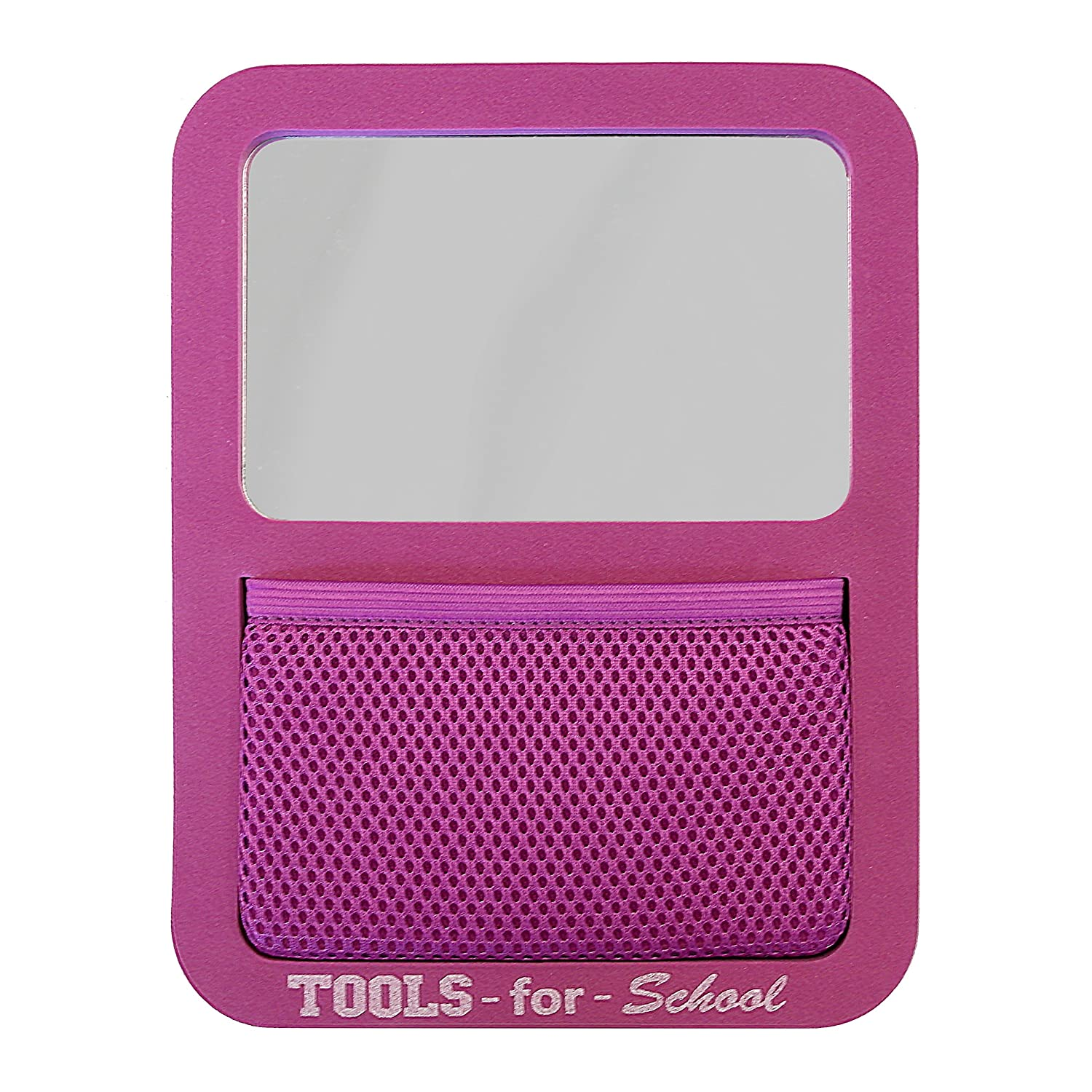 Tools for School Locker Accessories, Magnetic Locker Mirror with Elastic Mesh Pocket Organizer, Magenta Jaken