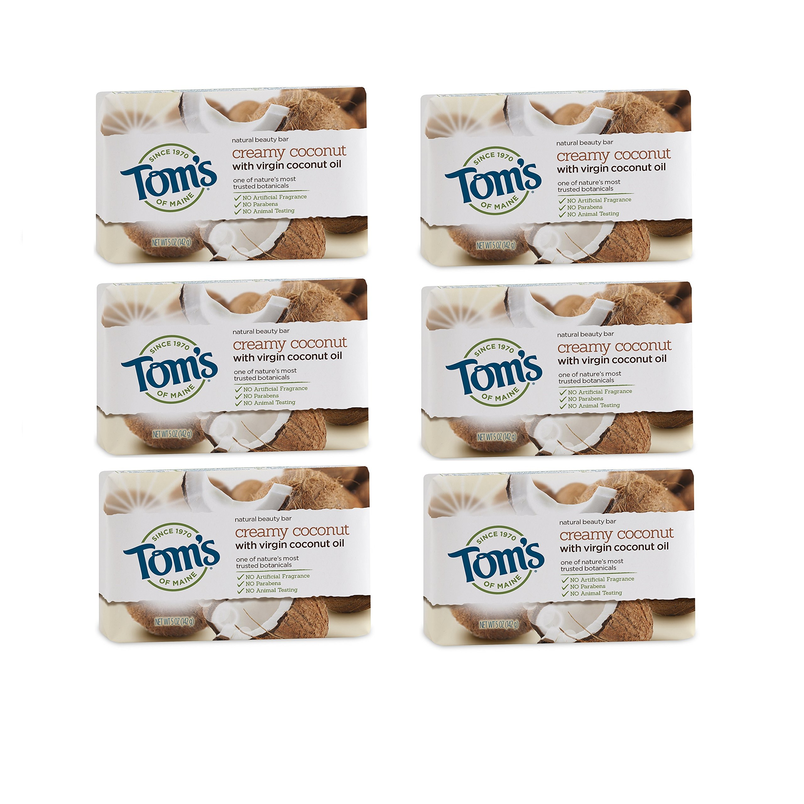 Tom's of Maine Natural Beauty Bar, Bar Soap, Natural Soap, Creamy Coconut with Virgin Coconut Oil, 5 Ounce, 6-Pack by Tom's of Maine