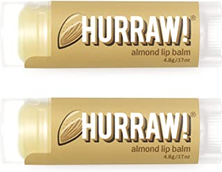 product image for Hurraw! Almond Lip Balm, 2 Pack: Organic, Certified Vegan, Cruelty and Gluten Free. Non-GMO, 100% Natural Ingredients. Bee, Shea, Soy and Palm Free. Made in USA