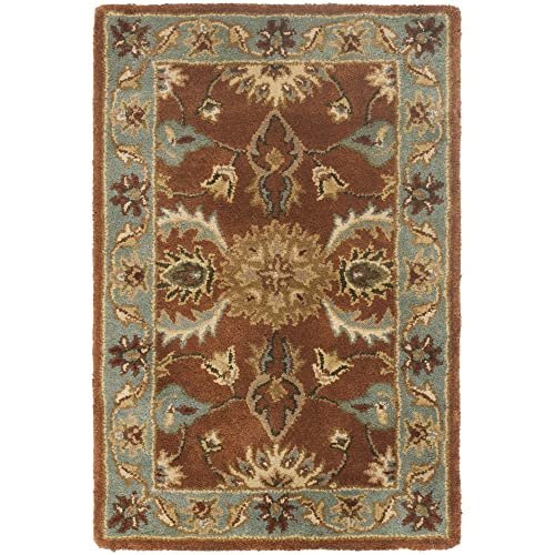Safavieh Heritage Collection HG968A Handcrafted Traditional Oriental Brown and Blue Wool Area Rug 2 x 3