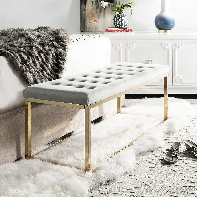 Safavieh Home Reynolds 48-inch Grey Velvet and Brass Bench