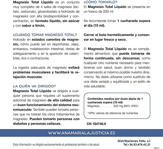 Ana Maria Lajusticia - Magnesio total – 200 ml (sabor limón ...