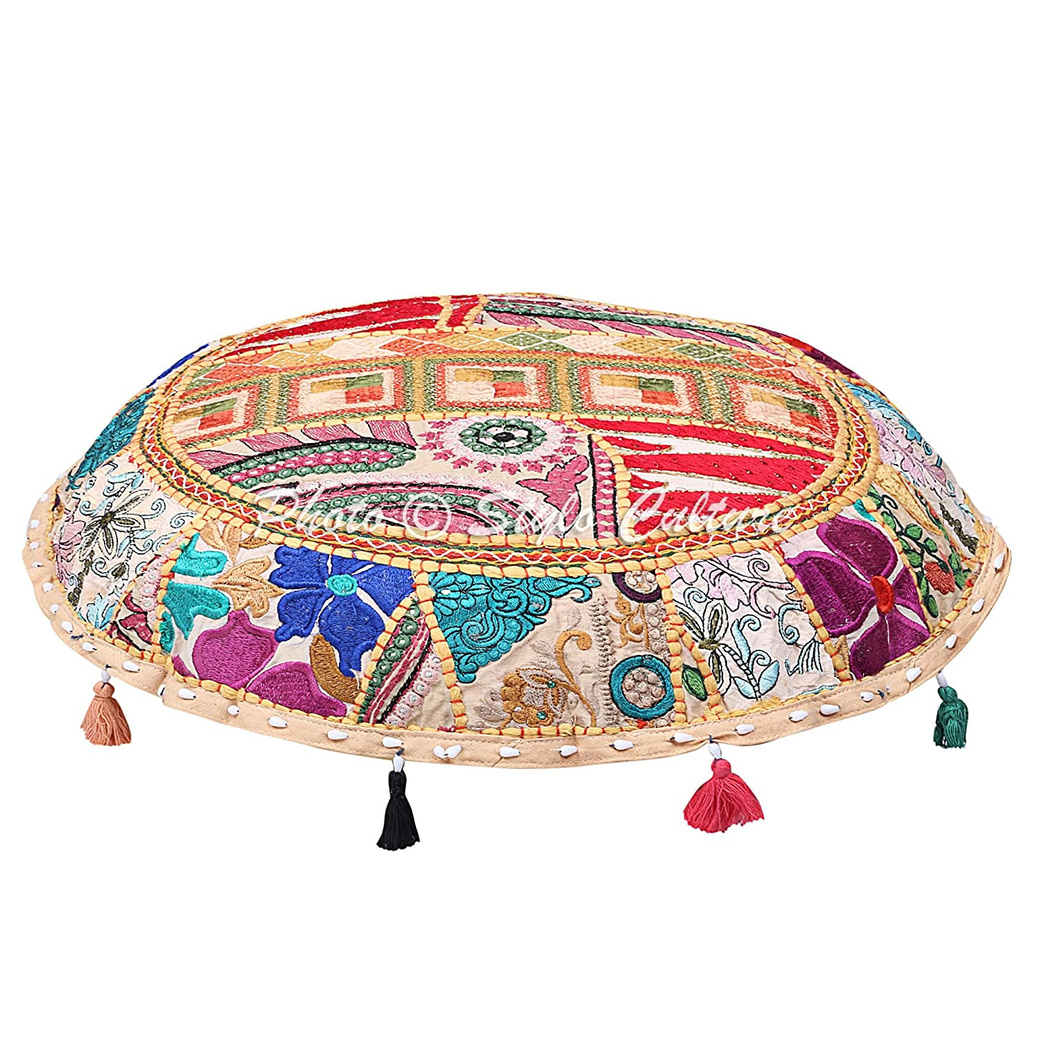 Stylo Culture Cotton Round Floor Pillow Cushion Seating Cover Vintage Embroidered Patchwork Beige 22 Tuffet Indian Floor Cushion Case