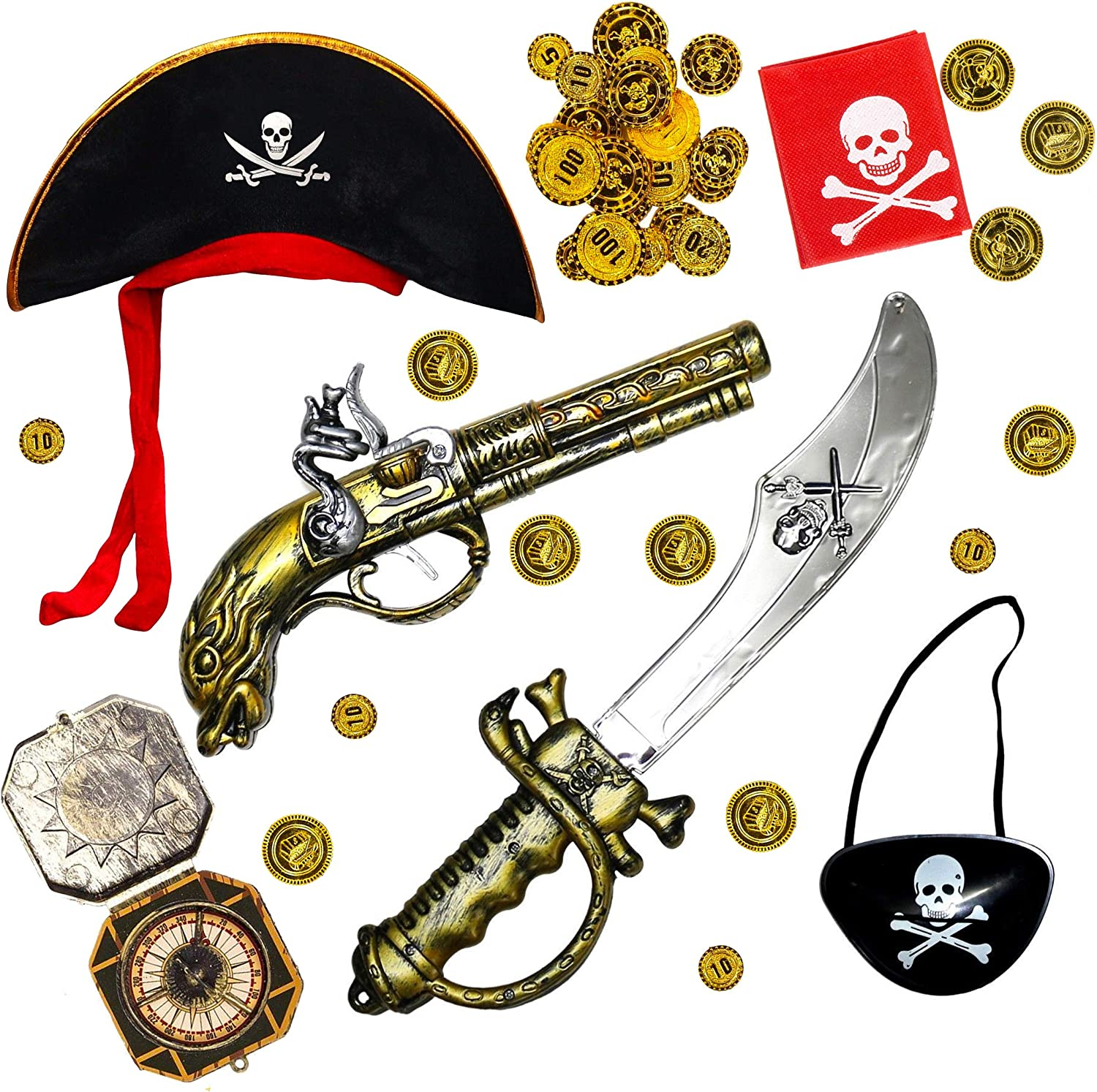 Fancy Party Dress Up Pirate Gun Hat Accessories Set Adults Kids Childrens Toy