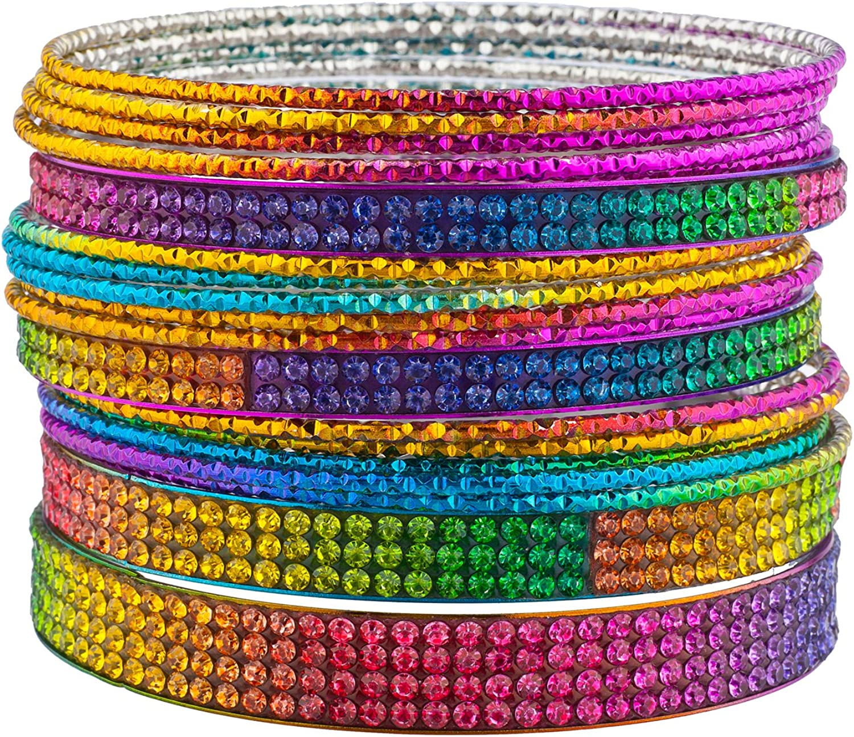 Lux Accessories Gay Pride Multicolored Colorful Rainbow Rhinestones Bangle Bracelet 15pcs