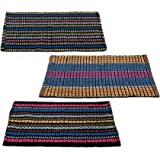 "Story@Home Traditional Style Cotton Blend 3 Piece Door Mat Set - 16""x24"", Multicolour"