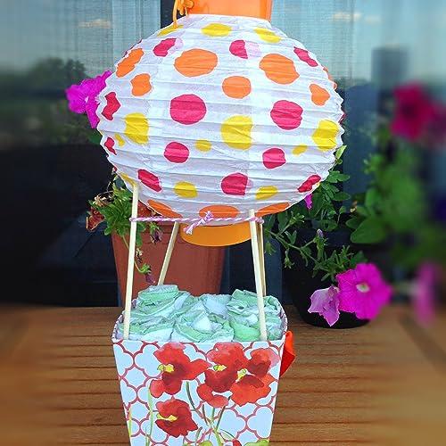 Amazon Com Orange And Yellow Baby Shower Hot Air Balloon Basket