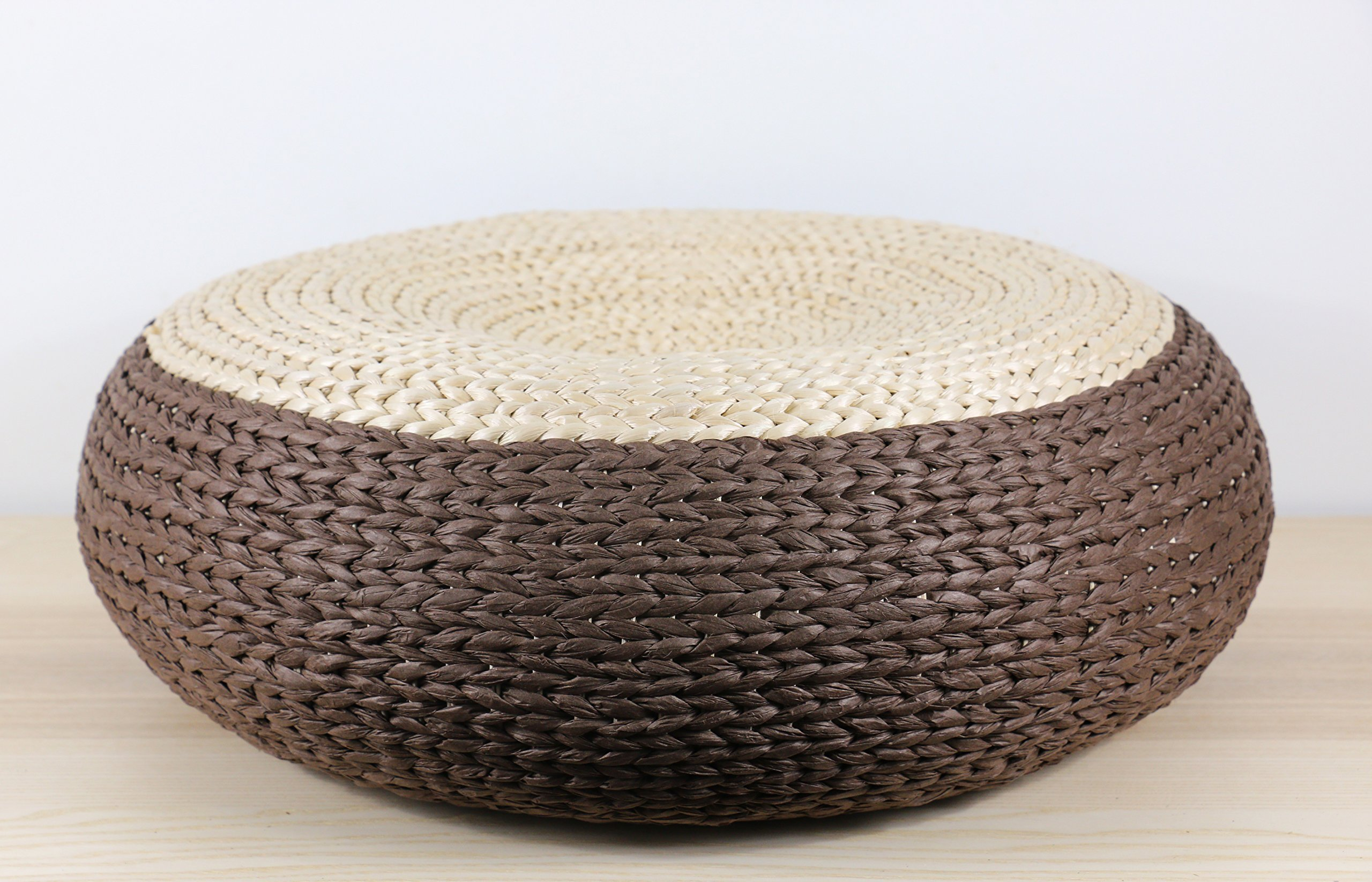 Doubled colored solid brown straw rustic poof/Floor cushion/Pouf ottoman/Kids gift/Wholesales bulk/meditation cushion