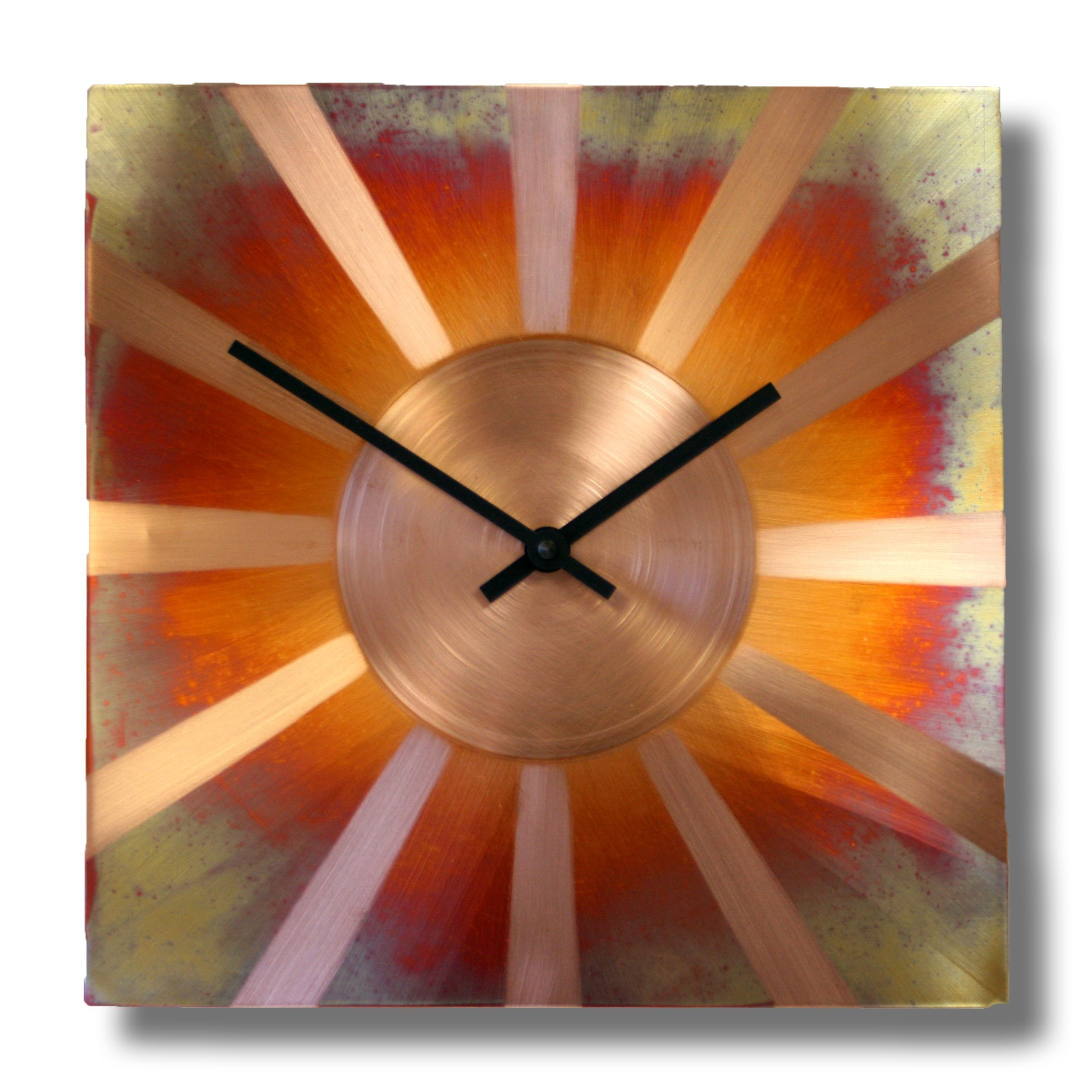 Sunny Copper Square Decorative Wall Clock 12-inch Silent Non Ticking for Home / Office / Kitchen / Bedroom / Living Room